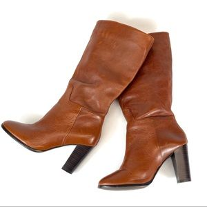 Lord & Taylor cognac tall heeled leather boots 7.5
